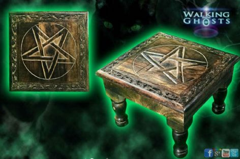 Pentacle Hand Made Wooden Altar Table Spells Shrines Witchcraft Wicca Pentagram